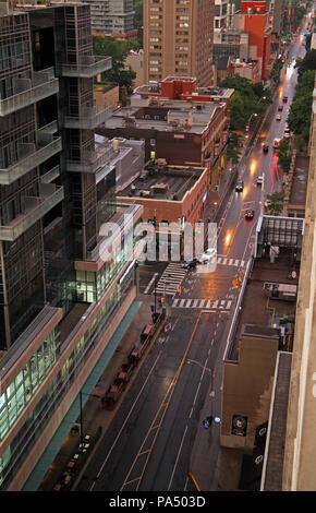 looking east out from the Chelsea Hotel, Toronto along Gerrard Street and towards Yonge Street - Stock Photo