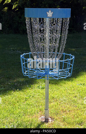 a frolf, or frisbee golf 'hole' or target on the course on Toronto Islands, Canada - Stock Photo
