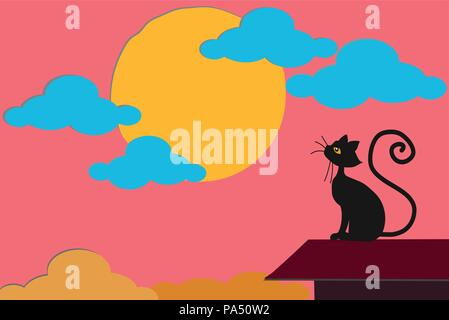 beautiful black cat watching the sun setting on pink cloudy sky, on roof top of home - Stock Photo