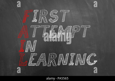 Fail first attempt in learning text on blackboard or chalkboard as move forward employee mistake lesson business motivation concept - Stock Photo