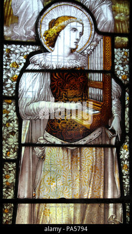 Stained Glass Window Saint Cecilia The Patron Saint Of Music - Stock Photo
