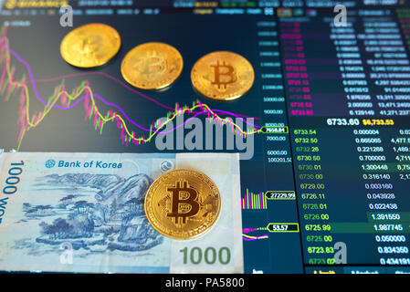 Paper bill Korean 1000 KRW, blurred background. The electronic schedule of bitcoin on the exchange, volume trades, on monitor lie gold coins bitcoin. - Stock Photo