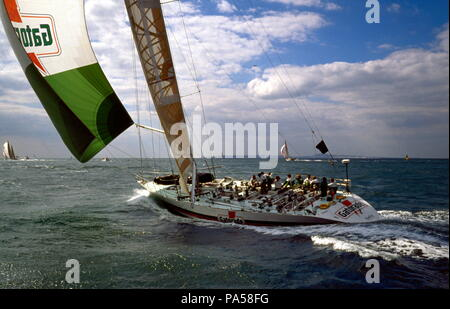AJAXNETPHOTO. 1989. SOLENT, ENGLAND. FASTNET RACE 1989 - GATORADE SKIPPERD BY GIORGIO FALCK (IT) OFF THE NEEDLES. YACHT IS A WHITBREAD RACE ENTRY.