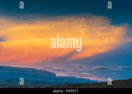 Sunset at Sierra del Carmen Mountains in Mexico viewed from Texas side of the Rio Grande - Stock Photo