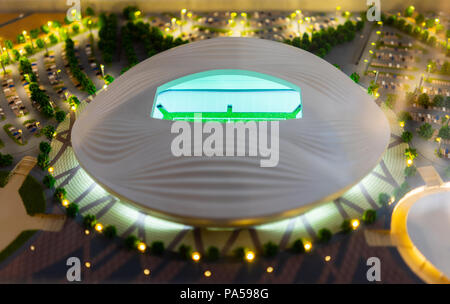 July 7, 2018, Moscow, Russia The mock-up of the Al Wakrah Stadium at which the matches of the FIFA World Cup 2022 in Qatar will be held. - Stock Photo