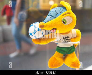 July 7, 2018, Moscow, Russia Official mascot FIFA World Cup 2014 in Brazil  Brazilian three-banded armadillo Fuleco. - Stock Photo
