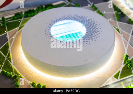 July 7, 2018, Moscow, Russia The mock-up of the Al Thumama Stadium at which the matches of the FIFA World Cup 2022 in Qatar will be held. - Stock Photo