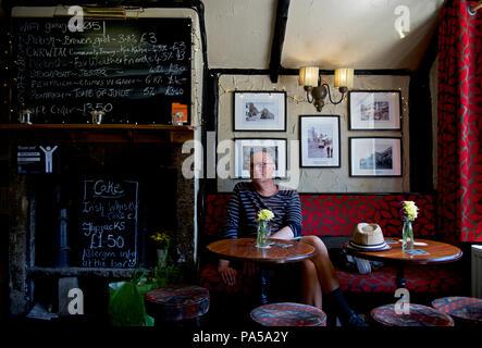 Middle-aged man in the Fox & Goose pub, Hebden Bridge, Calderdale, West Yorkshire, England UK - Stock Photo