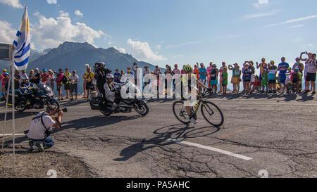 Mikel Nieve Tour de France 2018 cycling stage 11 La Rosiere Rhone Alpes Savoie France - Stock Photo