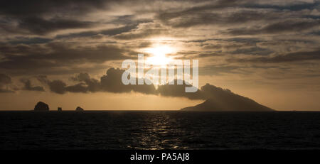 White Island volcano at sunrise, New Zealand - Stock Photo