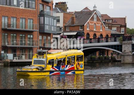 Windsor, UK. 20th July, 2018. A Windsor Duck Tours amphibious vehicle navigates the river Thames close to Eton bridge. - Stock Photo