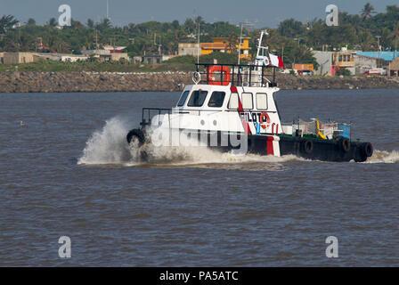 COATZACOALCOS, VER/MEXICO - JULY 18, 2018: 'Coatza I' Maritime Pilot ship on the Coatzacoalcos river mouth - Stock Photo