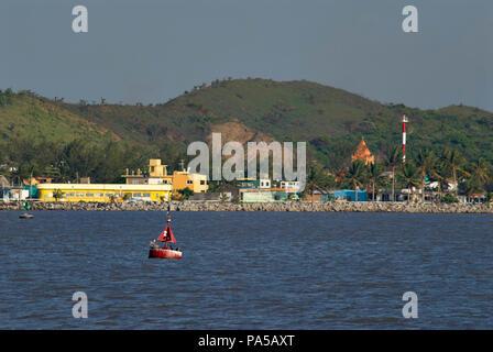 COATZACOALCOS, VERACRUZ/MEXICO - JULY 18, 2018: View of Allende town from Coatzacoalcos riverside. Red buoy No. 2 and green buoy No. 5 - Stock Photo