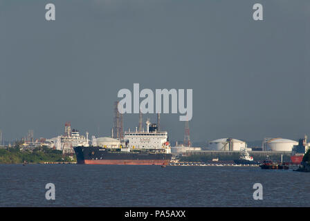 COATZACOALCOS, VER/MEXICO - JULY 18, 2018: Iron Point chemical and oil products tanker, leaving the Pajaritos Logistics Terminal - Stock Photo