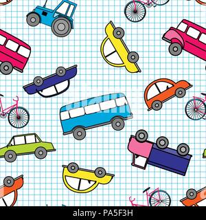 Cute hand drawn kids toy transport. Baby bright cartoon tractor, bus, car vector seamless pattern on white background. - Stock Photo