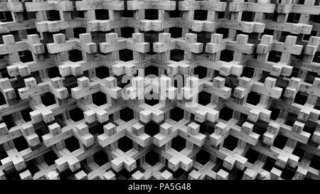 Seamless texture of wooden blocks in collage background. Repeated crosses with 3d effect. - Stock Photo