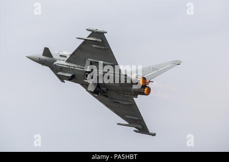 Italian Air Force F-2000 Typhoon pictured at the 2018 Royal International Air Tattoo at RAF Fairford in Gloucestershire. - Stock Photo
