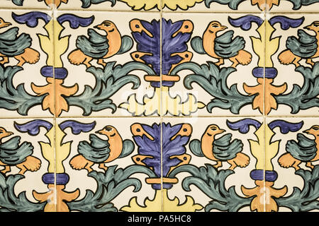 Set of typical Catalan mosaics, with animal and nature motifs. Barcelona, Spain. Image with vintage and yesteryear effect - Stock Photo