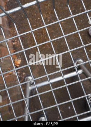 supermarket shopping trolley basket - Stock Photo