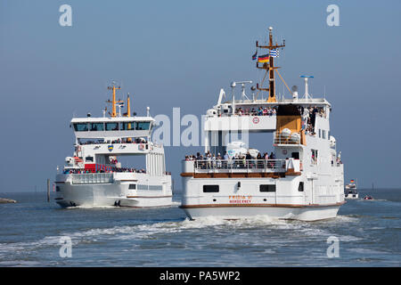 Ferries between Norden-Norddeich and Norderney island, East Frisia, Lower Saxony, Germany - Stock Photo