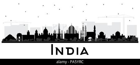 India City Skyline Silhouette with Black Buildings Isolated on White. Delhi. Hyderabad. Kolkata. Vector Illustration. - Stock Photo
