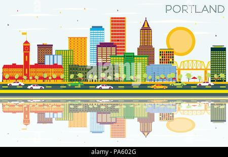 Portland Oregon City Skyline with Color Buildings, Blue Sky and Reflections. Vector Illustration. - Stock Photo