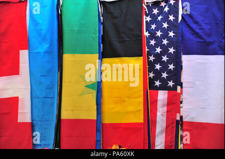 Flags of the World on sale at a market held each week in Beziers, France - Stock Photo