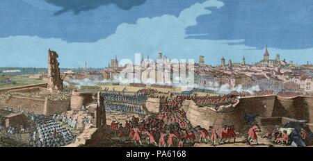 War of Spanish Succession (1702-1715). Entry of the troops of Philip V in Barcelona in 1714, opening gaps in the wall of the city with guns and mines, to render the place. Drawing by P. Rigaud and engraving by M. Engelbrecht, 1722. Colored.