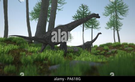 3d rendering of the walking brachiosaurus - Stock Photo