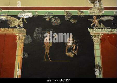 Mural painting depicting a bacchic scene, typical decoration of the northwestern provinces of the Roman Empire. Belonging to a luxurious Roman Villa excavated at the south of the Cathedral, Cologne, Germany. Roman-Germanic Museum. Cologne. Germany. - Stock Photo