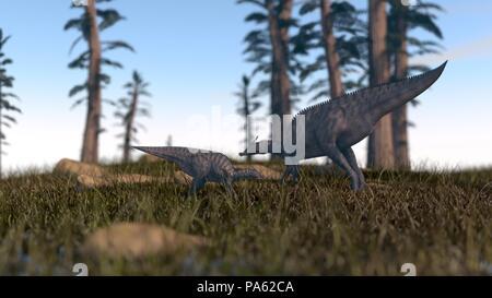 3d rendering of the saurolophus dinosaur - Stock Photo