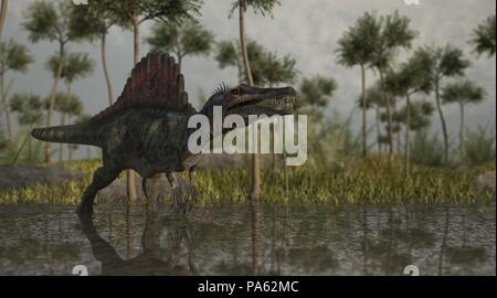 3d rendering of the spinosaurus hunting in jungle - Stock Photo