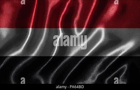 Yemen flag - Fabric flag of Yemen country, Background and wallpaper of waving flag by textile. - Stock Photo