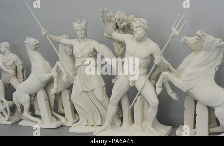 Reconstruction of the West pediment of Parthenon, Acropolis of Athens. According the drawing of K. Schwerzek, 1904. Quarrel between Athena and Poseidon for Athens and Attica. 5th century BC. Acropolis Museum. Athens. Greece. - Stock Photo