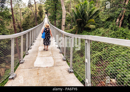 George Town, Penang, Malaysia - January 6, 2018: Woman crossing the hanging bridge in the Habitat  Penang Hill on Canopy Walk Penang, Malaysia. - Stock Photo