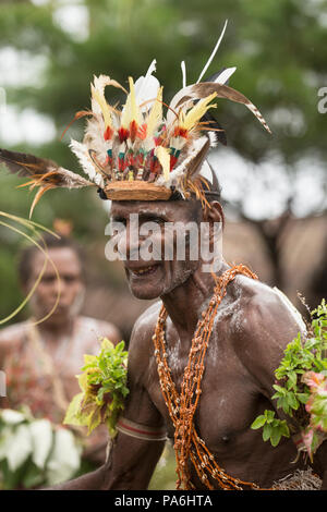 Cultural performance, Sepik River, Papua New Guinea - Stock Photo