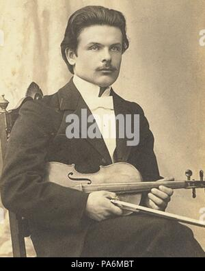 Victor Novacek (1873-1914) after the premiere of Violin Concerto in D minor, Op. 47 by Jean Sibelius. Museum: PRIVATE COLLECTION. - Stock Photo