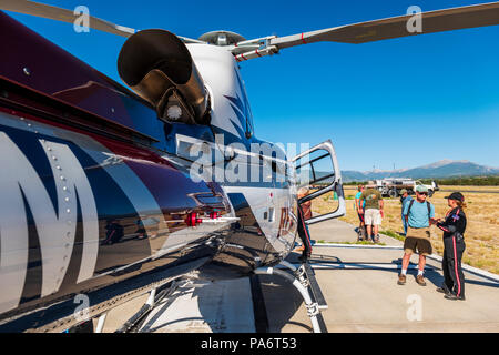 REACH Air Medical Services Airbus Helicopters; AS350 Écureuil helicopter; Salida Fly-in & Air Show; Salida; Colorado; USA - Stock Photo