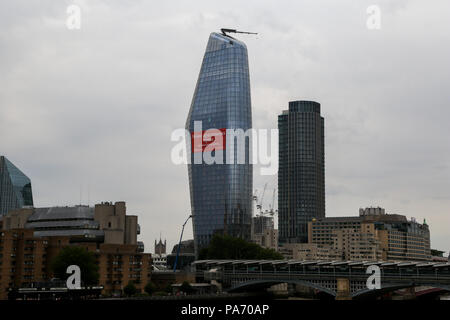City of London. London. UK 20 July 2018 -  View of One Blackfriars on a cloudy day as the heatwave continues in the UK with over 40 consecutive days without rainfall. One Blackfriars is a mixed-use development under construction at No. 1 Blackfriars Road in Bankside, London. It is informally known as The Vase due its shape. Met Office forecast the heatwave will continue with temperatures to reach 33 degrees celsius in middle of next week.    Credit: Dinendra Haria/Alamy Live News - Stock Photo