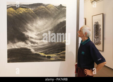 Kiev, Ukraine. 20th July, 2018. A man visits an exhibition of Chinese freehand brushwork organized by China National Academy of Painting in Kiev, Ukraine, on July 20, 2018. Credit: Chen Junfeng/Xinhua/Alamy Live News - Stock Photo