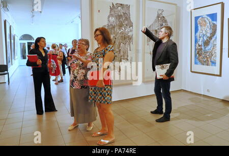 Kiev, Ukraine. 20th July, 2018. People visit an exhibition of Chinese freehand brushwork organized by China National Academy of Painting in Kiev, Ukraine, on July 20, 2018. Credit: Chen Junfeng/Xinhua/Alamy Live News - Stock Photo