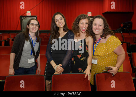 Bellmore, New York, USA. 18th July, 2018. Bellmore, New York, USA. July 18, 2018. L-R, STEPHANIE DONNELLY, director and writer of short film The Adventures of Penny Patterson; AJNA JAI, actor playing Penny Patterson; BETHANY NICOLE TAYLOR, lead actress in short film Joe; and SHARA ASHLEY ZEIGER, producer and writer of film Joe, chat after the final block of films at LIIFE 2018, the Long Island International Film Expo. The comedy, sci-fi, woman directed, NYU graduate thesis short film about Penny Patterson was nominated at LIIFE for Best Student Film, and has a July 21 screening sched - Stock Photo