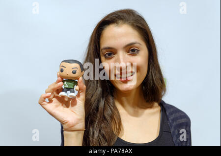 Bellmore, New York, USA. 18th July, 2018. Bellmore, New York, USA. July 18, 2018. L-R, AJNA JAI, actor playing title character of The Adventures of Penny Patterson, holds Penny Patterson doll figure (made by film's director and writer Stephanie Donnelly) after the movie screened during final block of films at LIIFE 2018, the Long Island International Film Expo. The comedy, sci-fi, woman directed, NYU graduate thesis short film was nominated at LIIFE for Best Student Film, and is screening July 21 at the San Diego Comic-Con International Independent Film Festival, CCI-IFF 2018, in Cal - Stock Photo