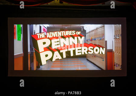 Bellmore, New York, USA. 18th July, 2018. Bellmore, New York, USA. July 18, 2018. The Adventures of Penny Patterson short film screens during final block of films at LIIFE 2018, the Long Island International Film Expo. The comedy, sci-fi, woman directed, NYU graduate thesis short film by Stephanie Donnelly was nominated at LIIFE for Best Student Film, and has a July 21 screening scheduled at the San Diego Comic-Con International Independent Film Festival, CCI-IFF 2018. Credit: Ann Parry/ZUMA Wire/Alamy Live News - Stock Photo