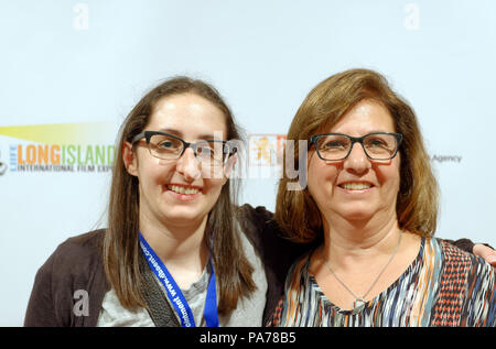 Bellmore, New York, USA. 18th July, 2018. Bellmore, New York, USA. July 18, 2018. L-R, STEPHANIE DONNELLY, director and writer of the short film The Adventures of Penny Patterson, poses with her mother BETH DONNELLY, after the movie screens during final block of films at LIIFE 2018, the Long Island International Film Expo. The comedy, sci-fi, woman directed, NYU graduate thesis short film was nominated at LIIFE for Best Student Film, and is screening July 21 at the San Diego Comic-Con International Independent Film Festival, CCI-IFF 2018, in California. (Credit Image: © Ann Parry vi - Stock Photo