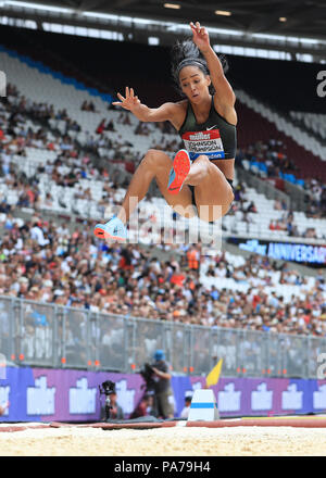 London Stadium, London, UK. 21st July, 2018. Diamond League Athletics, day 1; Katarina Johnson-Thompson (GBR) in the women's long jump Credit: Action Plus Sports/Alamy Live News - Stock Photo