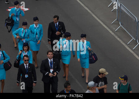 Farnborough,UK,21st July 2018,Cabin crew at Farnborough International Airshow 2018 which gets off to a flying start as it opens its doors to the public this weekend. Huge crowds attend as various planes, old and new take to the skies including the ever popular Red Arrows and Battle of Britain Memorial Flight.Credit: Keith Larby/Alamy Live News - Stock Photo