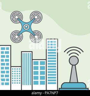 drone technology quadrocopter city antenna signal - Stock Photo
