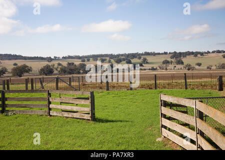 Empty cattle yards in rural Australia. - Stock Photo