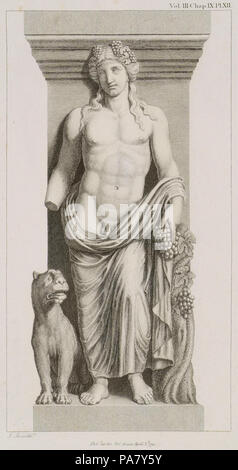 28 Bacchus with a Tiger See the Bacchae of Euripides - Stuart James & Revett Nicholas - 1794 - Stock Photo